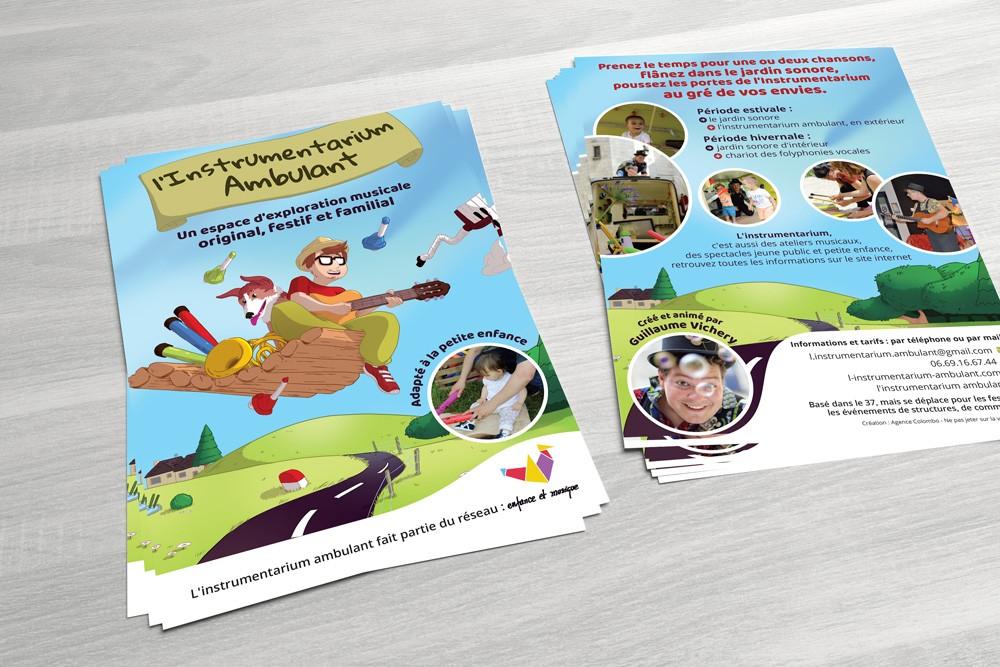 Création illustration et flyer instrumentarium ambulant - Agence Colombo